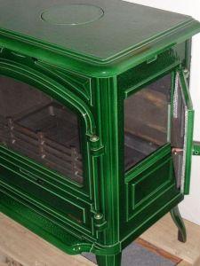 Franco Belge Limousin zelená majolika - kamna litinová odborný prodejce levně!