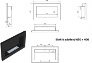 Biokrb závěsný 650 x 400 černá lesklá GM odborný prodejce levně!