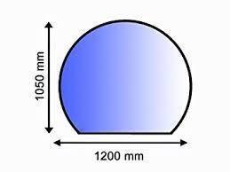 Sklo pod kamna obloukové 105 x 120 cm tl. 8 mm