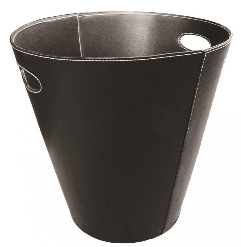 Koš na dřevo koženkový kulatý černý Lienbacher odborný prodejce levně!