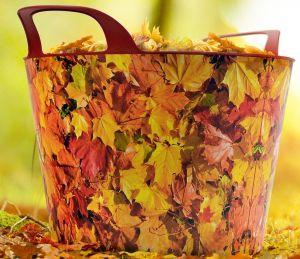 Univerzální koš plastový s uchy, dekor Podzimní listí