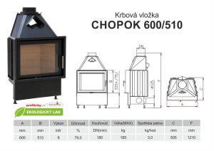 Krbová vložka CHOPOK 600/510 rovné sklo, ZDARMA DOPRAVA