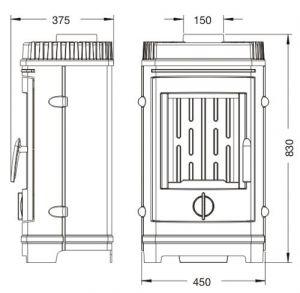 Krbová kamna CHATEL antracit ref.: 6137-44 odborný prodejce levně!