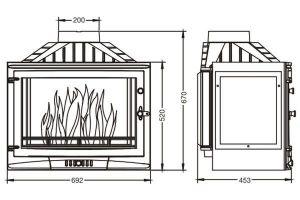 Krbová vložka UNIFLAM 700 SELENIC levé prosklení s klapkou ref. 601-733 odborný prodejce levně!