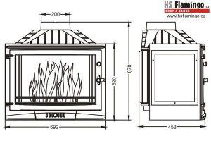 Krbová vložka UNIFLAM 700 SELENIC pravé prosklení s klapkou ref. 601-732 odborný prodejce levně!