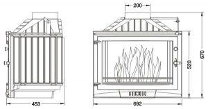 Krbová vložka UNIFLAM 700 SELENIC s klapkou a externím přívodem vzduchu ref. 601-725-DP odborný prodejce levně!